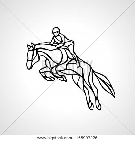 Horse race. Equestrian sport. Silhouette of racing horse with jockey on isolated background. Horse and rider. Racing horse and jockey silhouette. Derby. Eps 8