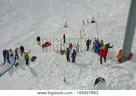 CHAMROUSSE, FRANCE - JANUARY 27: Rescuers searching for avalanche victims after an accident on the 27th of January, 2014, in Chamrousse ski area.
