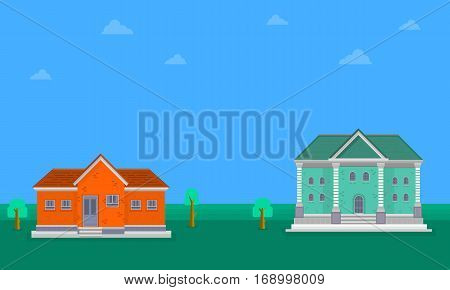 Vector flat of house landscape collection stock