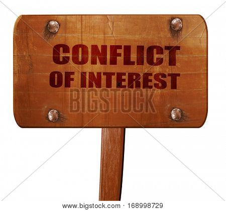 conflict of interest, 3D rendering, text on wooden sign