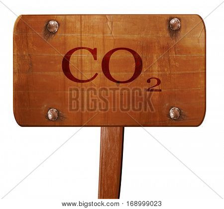 CO2 warning sign, 3D rendering, text on wooden sign