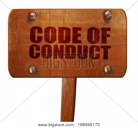code of conduct, 3D rendering, text on wooden sign