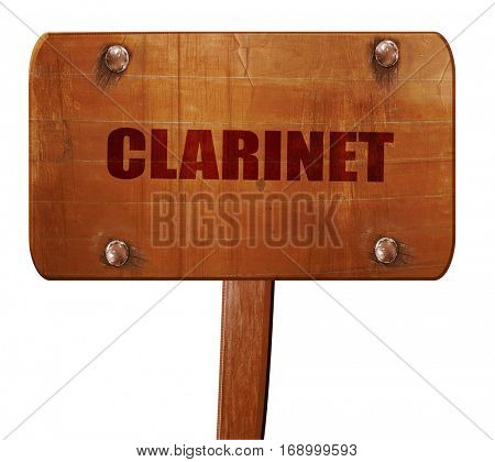 clarinet, 3D rendering, text on wooden sign