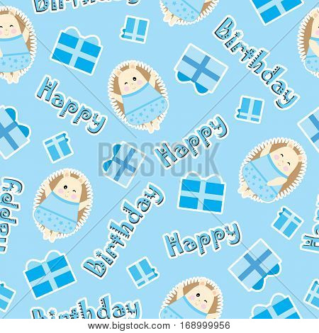 Birthday seamless pattern with cute hedgehog and birthday gift on blue background suitable for birthday wallpaper, scrap paper, and fabric
