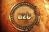 b2c, 3D rendering, grunge metal stamp poster