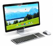 3D render illustration of modern professional desktop computer PC workstation with screen or monitor display with nature landscape keyboard and mouse isolated on white background poster