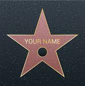 Walk of fame star illustration. Famous reward symbol. Achievement of actor celebrity. Hollywood vector success design. Fame symbol. poster
