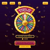 Wheel of fortune with buttons registration and menu, help for gamble casino user menu interface or UI web design. Betting and gambling, winner and risk game, american vegas and entertainment theme poster