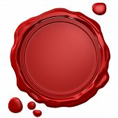 Wax seal with blank field (3D rendered illustration) poster