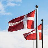 Travel to Denmark - two danish flags fluttering in wind in Copenhagen city in autumn day poster
