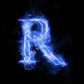 Fire letter R of burning blue flame. Flaming burn font or bonfire alphabet text with sizzling smoke and fiery or blazing shining heat effect. Incandescent cold fire glow on black background poster