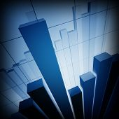 3d image of classic financial stat chart business graph background poster