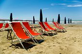 A view of Tuscanian beautiful beach of Lido di camaiore Versilia. poster