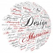 Vector concept conceptual creativity art graphic design visual word cloud isolated on background metaphor to advertising, decorative, fashion, identity, inspiration, vision, perspective or modeling poster