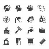 Hygiene icon set. Vector black icons of washing hands and anti bacterial soap, antiseptic use and sanitary. Wash hands with soap and water illustration poster