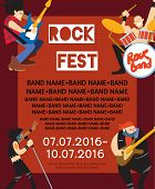 Rock fest banner with music group. Music party invitation. Concept of artistic people vector illustration. Singer, guitarist, drummer and bassist characters performs. Rock star. Festival poster. poster