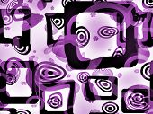An op-art illustration with geometric figures in purple. poster