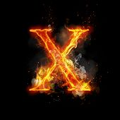 Fire letter X of burning flame. Flaming burn font or bonfire alphabet text with sizzling smoke and fiery or blazing shining heat effect. Incandescent hot red fire glow on black background. poster