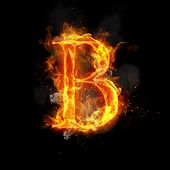 Fire letter B of burning flame. Flaming burn font or bonfire alphabet text with sizzling smoke and fiery or blazing shining heat effect. Incandescent hot red fire glow on black background. poster