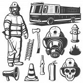 Firefighting vintage elements set with fireman in uniform fire truck skull and rescue equipment isolated vector illustration poster