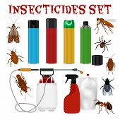 Pest control set with tick ant mosquito fly cockroach repellent and insecticide isolated on white background vector illustration poster