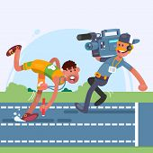 Athlete runner in motion.Cameraman using a professional camcorder. poster
