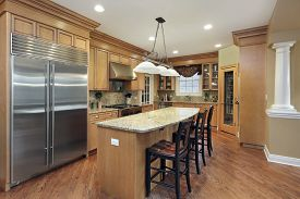 Kitchen in upscale home with large center island.