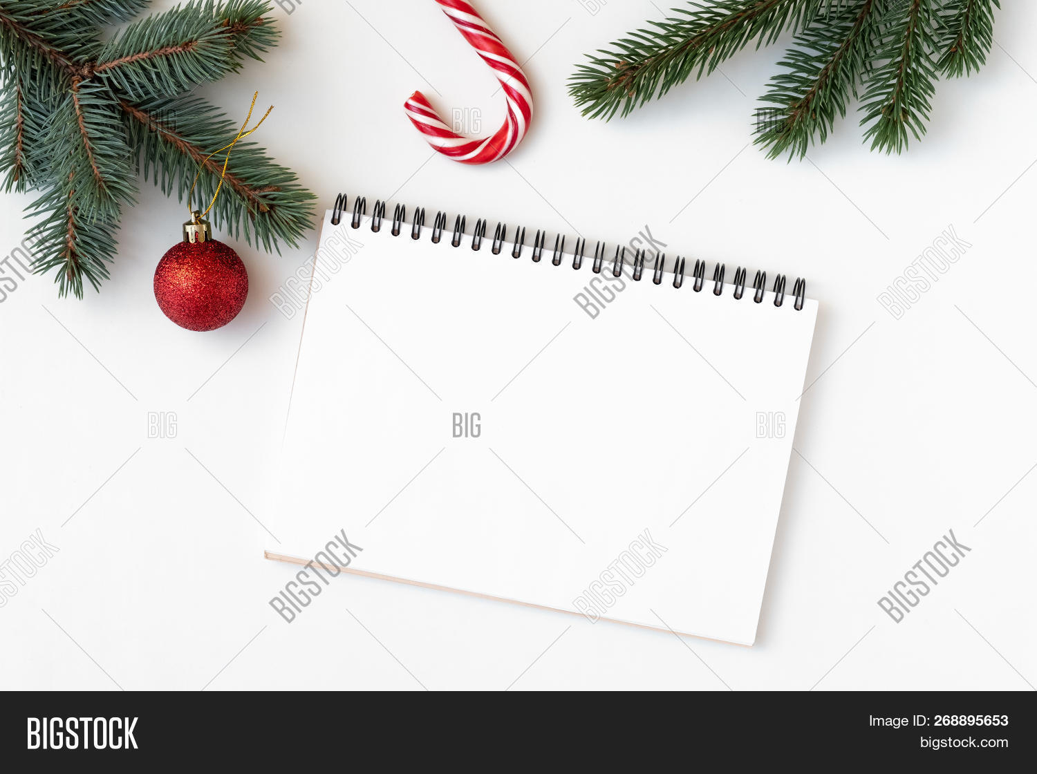 Christmas Decorations, Branch Of Fir, Candy Cane, Notebook With To Do List,
