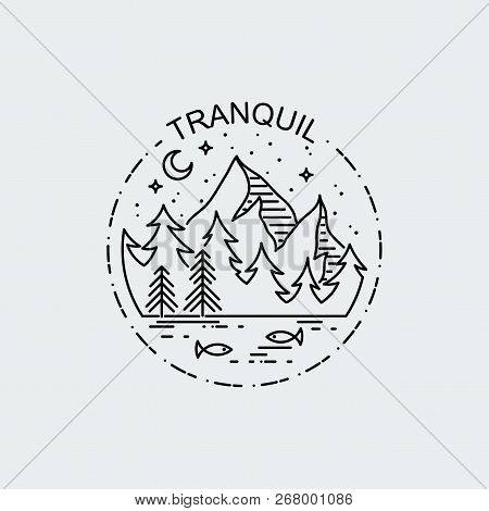 Tranquil. Night Mountains And Lake. Nature Exploration Vector Vintage Poster. Modern Flat Linear Vec