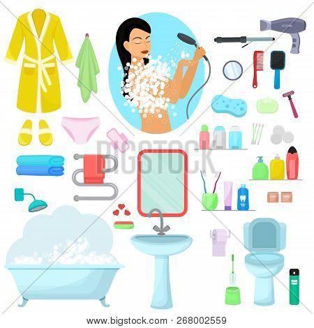 Hygiene Personal Care Vector Beautiful Woman Showering Hygienic Bath Products In Bathroom Illustrati