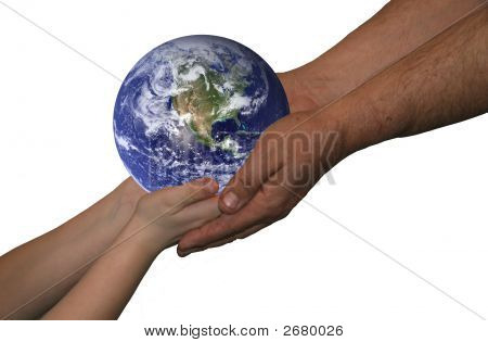 Man And Boy Holding World