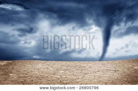 A background image of dried soil and tornado