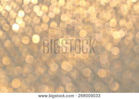 Abstract Gold Bokeh Background, Metal Surface Is Not In Focus