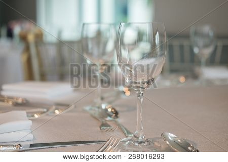 Served Dinner Table In A Restaurant. Restaurant Interior. Cozy Restaurant Table Setting