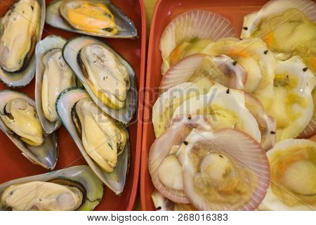 Fresh Mussel And Scallop On Red Tray Ready To Cook