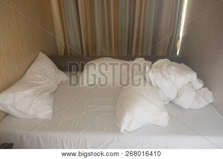 Bed Sheet And Pillows Messed Up In Hotel