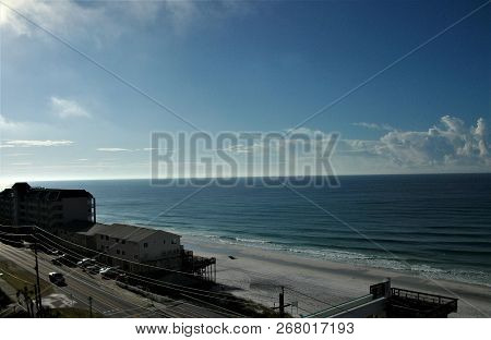 Looking Eastward In The Morning At The Emerald Coast In Destin, Florida.