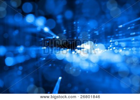 Digitally Generated Image of blue light on black background