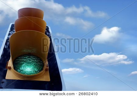 an image of traffic lights while green light on