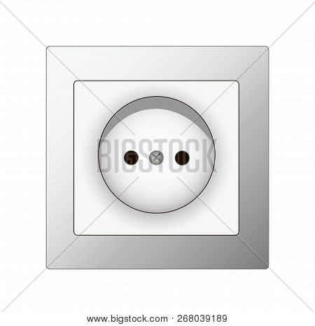 White Switch White Electrical Socket, Vector, White Background
