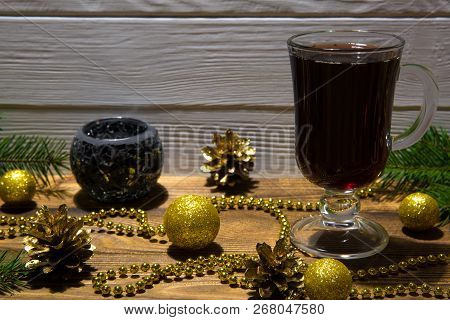 Hot Mulled Wine With Christmas Decoration, Golden Christmas Balls, Golden Beads And Golden Pine Cone
