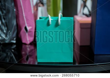 Blue Paper Bags Isolated . Mock-up Of White Shopping Bag . Blue Paper Bag For Luxury Store Isolated