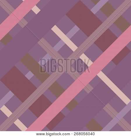 Seamless Cross Lines Madras Pattern. Diagonal Seamless Texture As A Tartan Plaid In Various Pink Vio