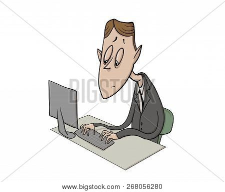 Exhausted Clerk In Front Of Computer. Tired Businessman Feeling Burnt Out. Colorful Flat Vector Ilus