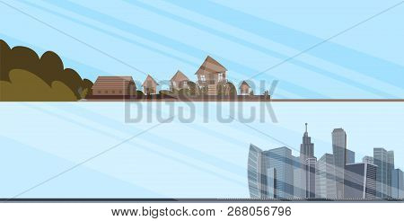 Set Of Vector Illustrations Of City Landscapes. Vector Illustration Of A Cartoon Of The Opposites Of