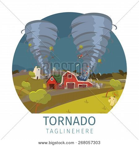 Vector Drawing Image The Destructive Tornado. Banner Vector Illustration Of A Cartoon Looming On A S