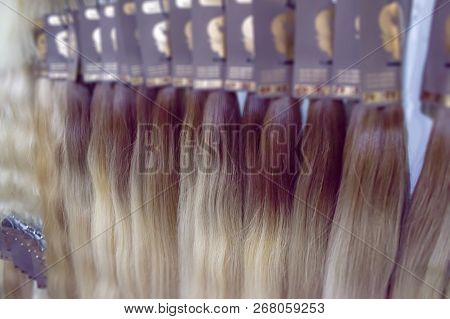 Hair Extension Equipment Of Natural Hair. Hair Ombre Balayage Samples Of Different Colors. Multi-col