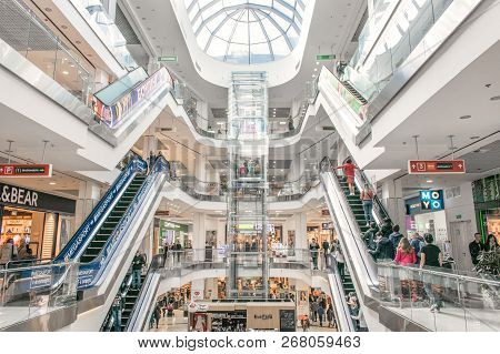 Cherkasy, Ukraine  - 14 October, 2018:  Shopping Centre Lubava. Modern Mall Interior With Shops, Ele