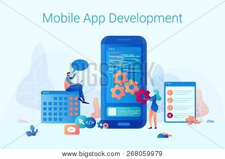 A Man And A Woman Stand Near A Big Smartphone. The Concept Mobile App Development For Business And C
