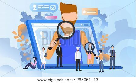 The Concept Of A Job Search Candidate. Vector Illustration Of Working Cartoon Characters Man Searchi